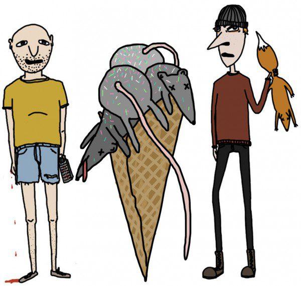 Illustration ur filmen att illustrera en grävling.